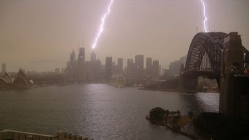 Lightning strike in Sydney.