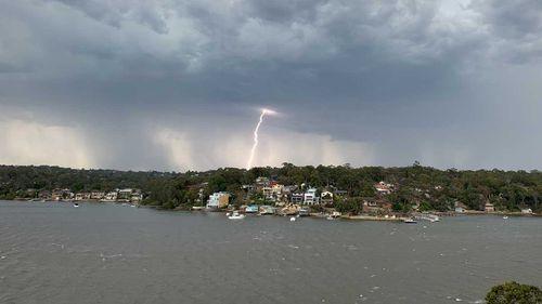 A lightning strike off Kangaroo Point.