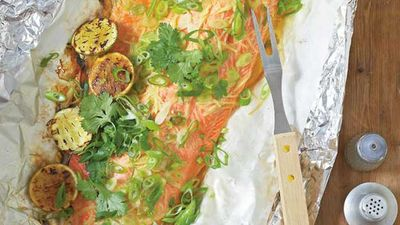 """Recipe: <a href=""""http://kitchen.nine.com.au/2016/05/05/15/47/ross-dobsons-ocean-trout-fillet-with-ginger-and-shallots"""" target=""""_top"""">Ross Dobson's ocean trout fillet with ginger and shallots</a>"""