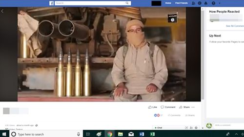 A video posted on Facebook promoting Islamic State propaganda and shared amongst supporters.