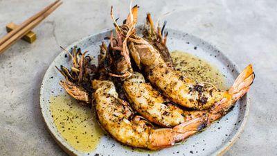 """Recipe: <a href=""""http://kitchen.nine.com.au/2016/05/20/10/03/grilled-king-prawns-kombu-butter"""" target=""""_top"""">Grilled king prawns, kombu butter</a>"""