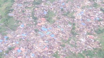 Former Nepalese prime minister Baburam Bhattarai took this photo of the devastation in the Gorkha region during an aerial survey after the earthquake. (Facebook/Baburam Bhattarai)