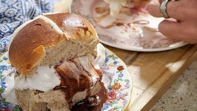 Hot cross bun ice cream sandwich