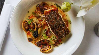 "Recipe: <a href=""http://kitchen.nine.com.au/2017/09/05/13/24/catalinas-crispy-skin-cone-bay-barramundi"" target=""_top"">Catalina's crispy skin cone bay barramundi, pipis, vongole, mussels, braised leeks, avruga and lemon thyme veloute</a>"