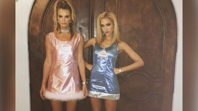 Jessica Alba and model Kelly Sawyer nailed this Romy and Michele's High School Reunion dress-up. (Instagram: @JessicaAlba)