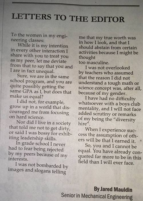 The letter was published in the Washington Newspaper The Easterner. (Facebook)