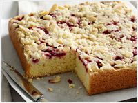 Raspberry and almond slab cake