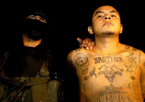 An alleged member of MS-13 Salvadoran gang is captured by National Civil Police agents in Santa Ana, 63 kilometres west of San Salvador, during a 'Super Strong Hand' anti-gang operation.