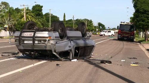 Boy, 12, charged after 'stolen' mini-van crash in Townsville