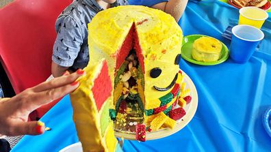Lego lolly filled cake