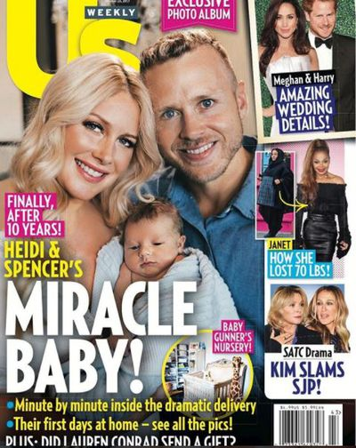 <p>Heidi Montag and Spencer Pratt welcomed their first child into the world in October after more than a decade of dating. The trio made the cover of US Weekly.</p>