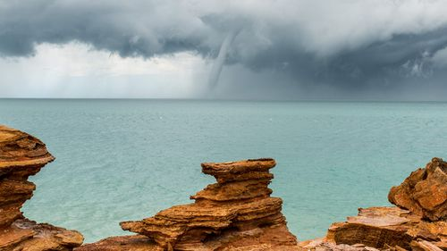 A waterspout formed off the coast of Broome yesterday. (Supplied/Richard Young Photography)
