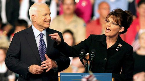 John McCain and Sarah Palin campaigning together in 2008.