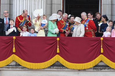 The royal family gathers on the main balcony of Buckingham Palace for the fly over at Trooping the Colour 2019.