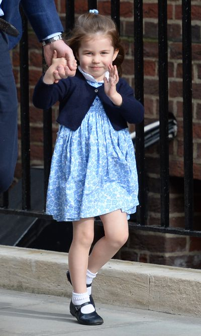 Princess Charlotte arriving at the Lindo Wing at St Mary's Hospital in Paddington, London, to see her new baby brother, April, 2018