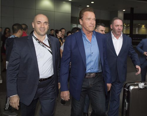 Arnold Schwarzenegger and his entourage have arrived in Melbourne for the start of the Arnold Sports Festival. (AAP)