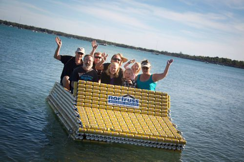 """HMAS Screw Loose"" is made of 4,700 cans and can hold eight people. All in the name of fun at the regatta. Picture: Facebook"