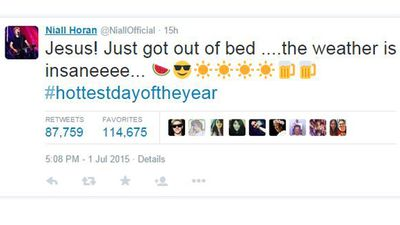 One Direction band member Niall Horan reacted to the weather on Twitter. (Twitter)