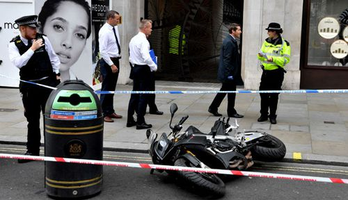 A scooter inside Watches of Switzerland on London's Regent Street after raiders on scooters armed with knives and hammers entered the store and stole several items of property. (Photo: PA).
