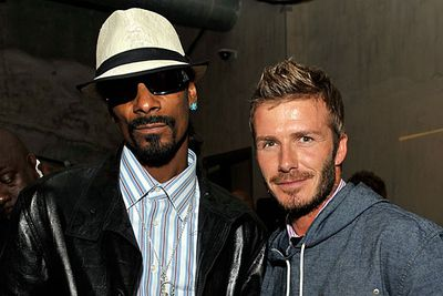 """Becks gave Snoop's football team a complimentary soccer coaching session and last year the friends starred together in an animated short film based on <i>A Christmas Carol</i>. <br/><br/>We still can't quite picture Snoop holding in the cuss words around the little Beckham kids, though!<br/><br/><a href=""""http://celebrities.ninemsn.com.au/antibullying"""">Want to win an iPad? Take our quiz!</a>"""