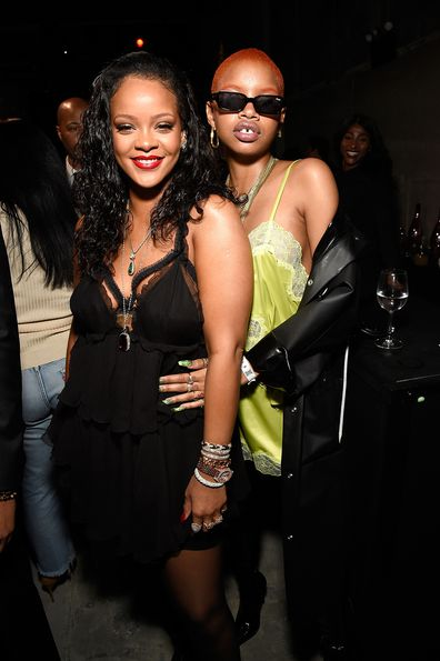 Rihanna and Slick Woods at the launch for global lingerie brand, Savage X Fenty in 2018