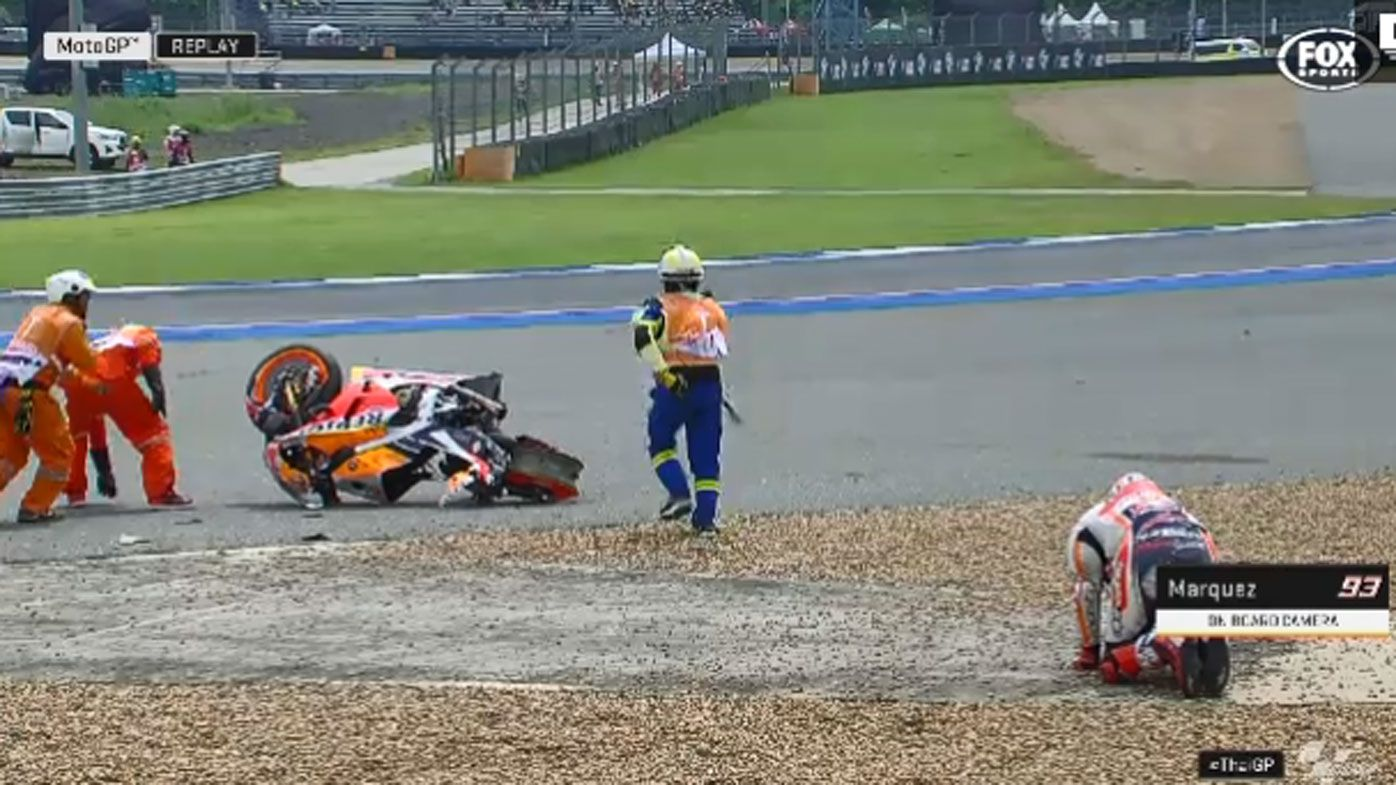 Marc Marquez 'lucky' to walk away after scary fall in Thailand