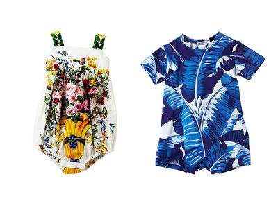"<p><a href=""https://www.lmbambini.com.au/collections/dolce-gabbana/products/dolce-gabbana-banano-leaves-printed-short-sleeves-track"" target=""_blank"" draggable=""false"">Dolce & Gabbana Banano Leaves Romper, $113</a> and <a href=""https://www.lmbambini.com.au/collections/baby/products/dolce-gabbana-vaso-fiori-baby-onesie"" target=""_blank"" draggable=""false"">Vaso Fiori Onesie, $292</a>.</p>"
