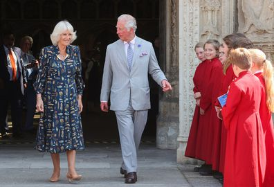 Charles and Camilla visit Exeter Cathedral on July 19, 2021 in Exeter, United Kingdom. Founded in 1050.