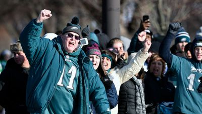 Philadelphia Eagles NFL football team fans celebrate. (AAP)