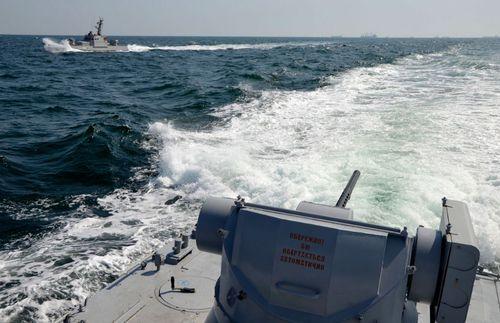 A file photo showing a Ukrainian navy patrol off Crimea.