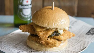 <p>Crown Street Fish Shop's triple stack fish burger</p>