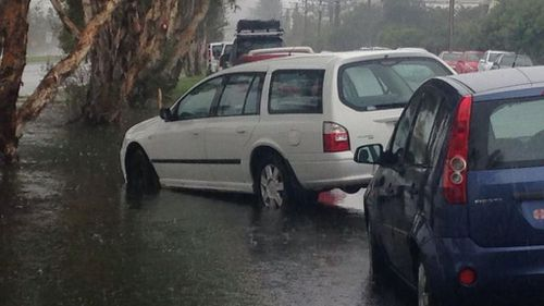 Cars at risk of flooding at Bilinga. (Twitter)