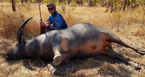 Hunter Danny Vanbrugh's son after he shot the buffalo in the NT.