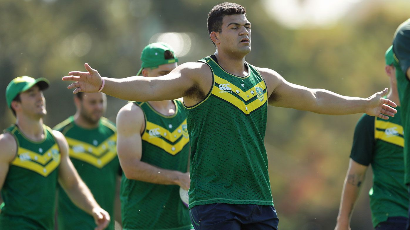 David Fifita stretches during the Australian Rugby League Nines team training