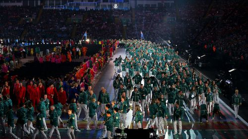 Australian athletes walk into the Commonwealth Games Opening Ceremony. (Getty)