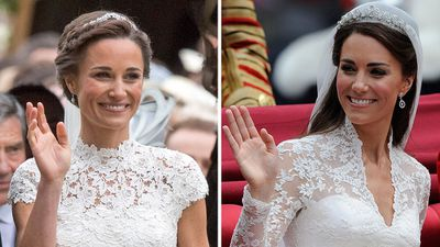 3. Pippa and Kate wave at the camera.