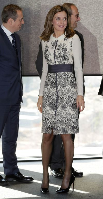 Queen Letizia of Spain in Felipe Varela at the Prize for Magistral Action in Madrid, December 2017
