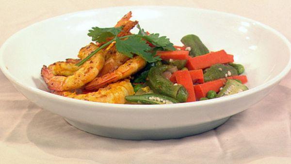Indian prawn stir-fry