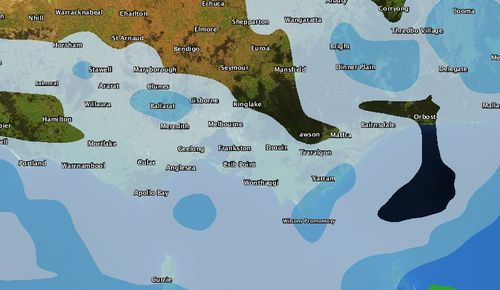 There is a possibility of light rain on Saturday across parts of Victoria. (Weatherzone radar - 2pm Saturday)
