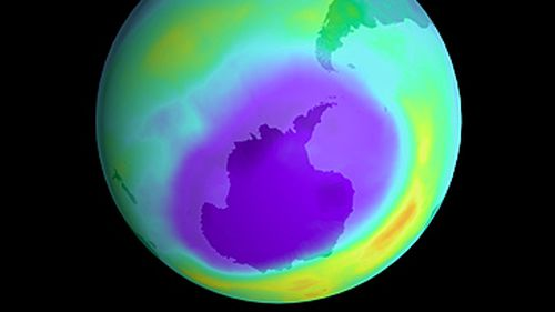 Illustration of hole in Earth's ozone layer (Getty)