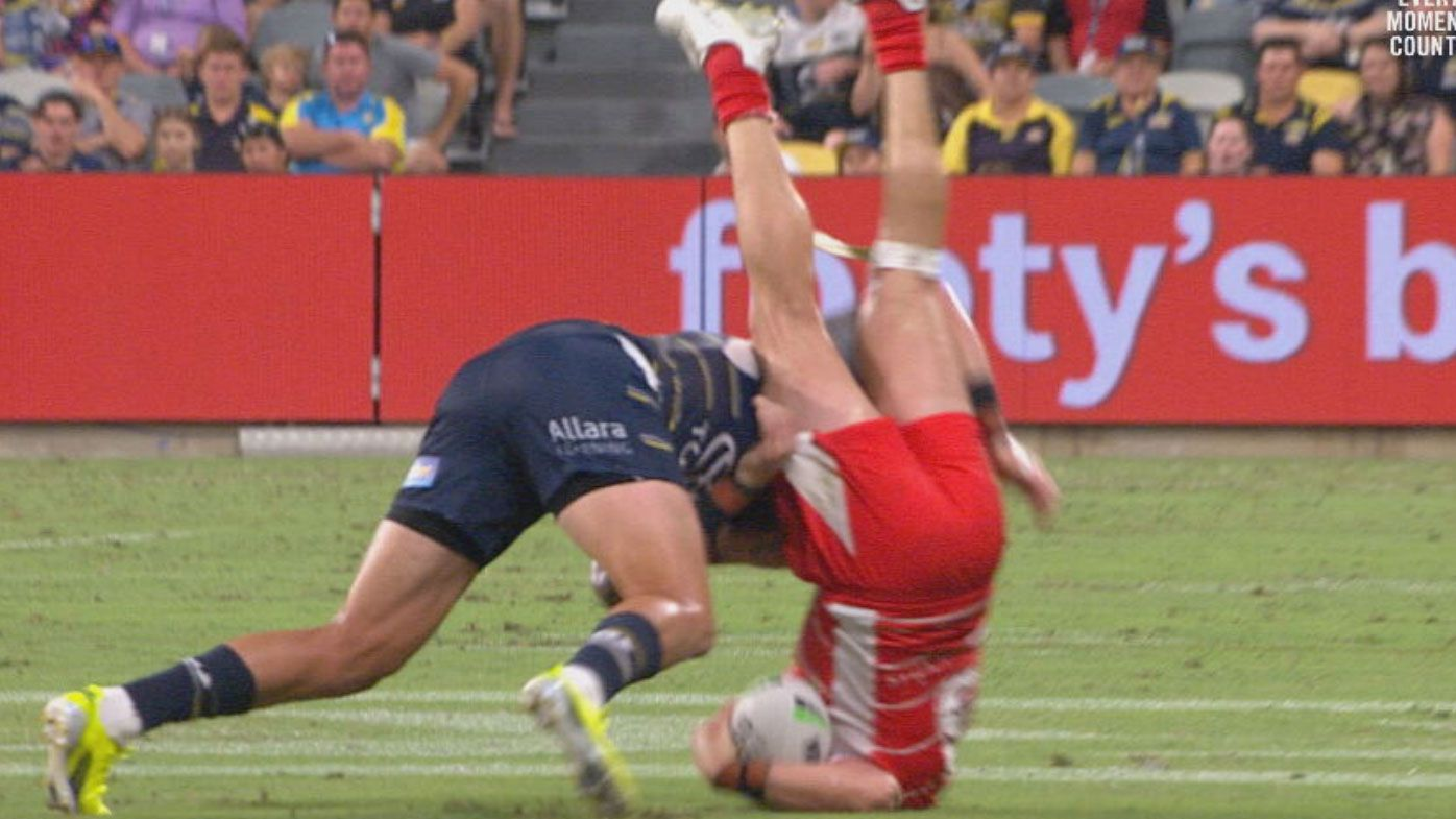 'He's in trouble': Cowboys star Kyle Feldt on report for 'terrific, old-school' tackle on Jack Bird