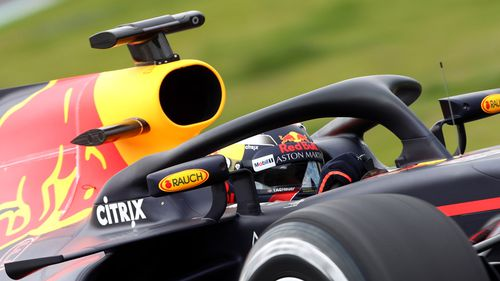 Max Verstappen's Red Bull car fitted with the new Halo device. (AAP)