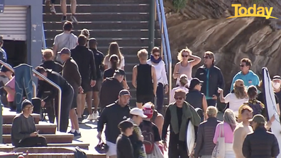 Large crowds were seen at Bronte over the weekend, even after authorities urged people to stay inside.