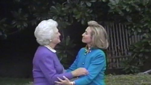 Cameras recorded the scene as first lady Barbara Bush greeted incoming first lady Hillary Clinton outside the White House in 1992.