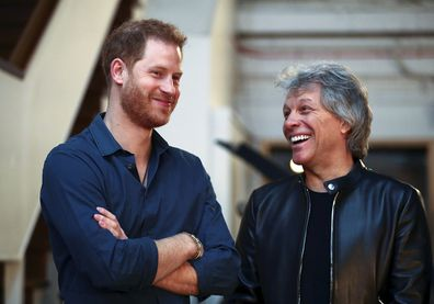 Prince Harry and Jon Bon Jovi recording a special single in aid of the Invictus Games Foundation in 2020.