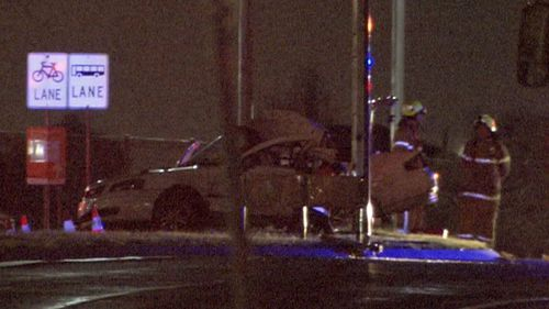 The driver of this car was killed when it crashed into a pole in Coolaroo.