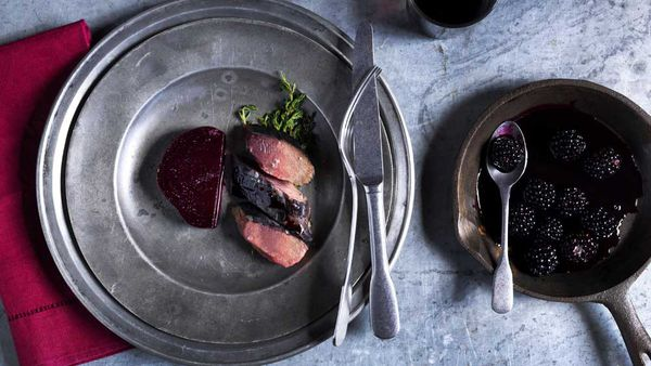 Mike Eggert's rare roasted saddle of goat with ashed bread crust, roast beetroot and blackcurrant for BeefandLamb.com.au