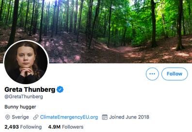 Greta Thunberg's nod to Boris Johnson in Twitter bio