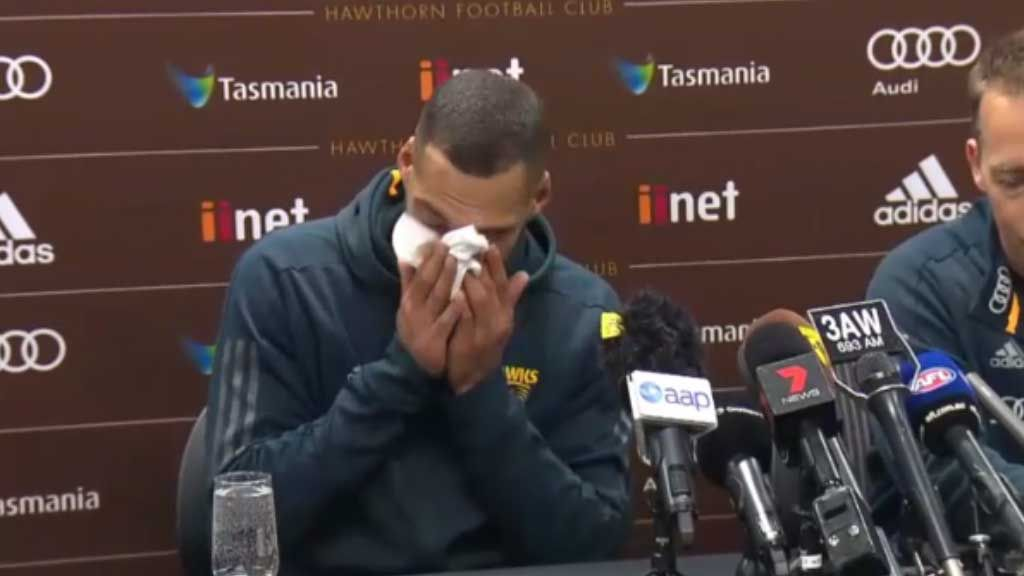 AFL star breaks down during retirement announcement
