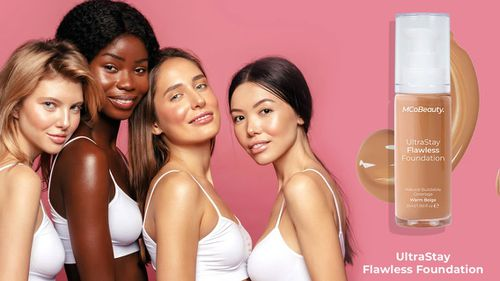 An advertisement for MCoBeauty make-up featuring diverse models.